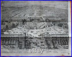 VAN DER AA Gravure originale c1725 VUE DE VERSAILLES Ville Château Jardins