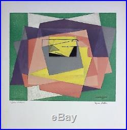 VILLON Jacques lithographie signée art abstrait cubisme 1961 abstraction