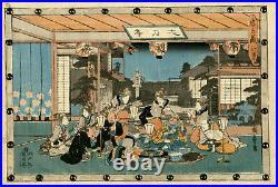 Véritable estampe japonaise originale de Hiroshige La revanche des 47 ronins 7