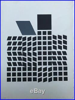 Victor Vasarely Lithographie Gravure En Relief Titre Quata 1957 Épreuve Rare
