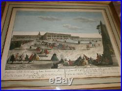 Vue d' optique Château Versailles Gravure XVIIIème peinte gouache Cadre XXème