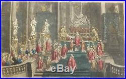 Vue d'optique Messe à Notre Dame de Paris gravure par B. Picard XVIIIè S