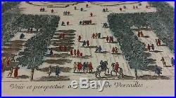 Vue d'optique gravure XVIIIe château TRIANON Versailles engraving DE POILLY
