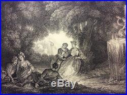 Watteau Les Agréments de l'été estampe originale par Favannes entre 1729-1731