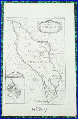XVIII ème Dépt 17 Belle Carte de l'île d'Oléron par J Ayrouard 32x21 cm 1757
