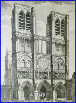 XVIII ème NOTRE DAME DE PARIS Superbe Gravure Affaire d'Etat 40x30 1790/1798